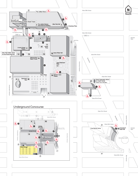 Map of Lincoln Center indicating accessible entrances